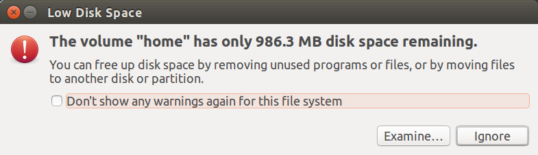the volume home has only 986.3 MB disk space remaining